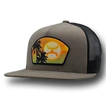 HOOey Hat Pacific Tan Black mesh trucker with sunset 1835T-TNBK