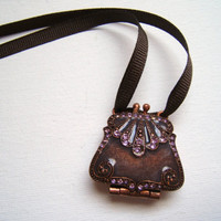 Upcycled Brown Purse Necklace Rhinestone necklace by PetalGem