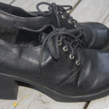 Vintage 90s Black Pleather Vegan Manmade Chunky Lace Up Grunge Granny Oxfords Creepers Shoes Size 8 Womens