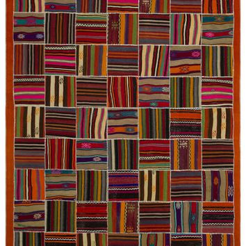 STRIPED OVERDYED KILIM PATCHWORK UNIQUE RUG 6'8'' X 10'2'' FT 203 X 310 CM