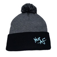 plurAF Brand Heather Grey/Black Pom Beanie with Glow in the Dark Logo