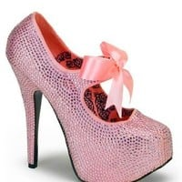 Bordello Pink Rhinestone Platform Pump - 9: Clothing from BNM CORP