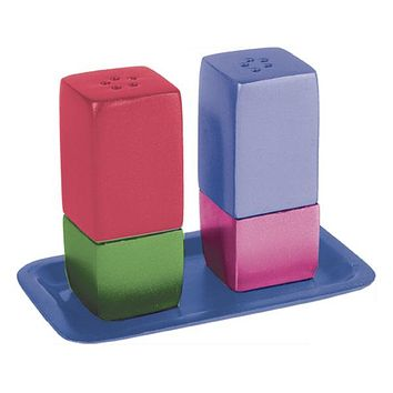 Salt & Pepper Shakers + Tray - Metal - Multicolor