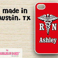PERSONALIZED iPhone Case iPhone 4 4S iPhone 5 Phone Case - Red Rn Nurse Doctor Medical - Monogrammed Custom