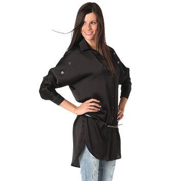 Black satin shirt dress with star applique