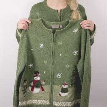 Vintage MATCHING Snowman Ugly Christmas Sweater