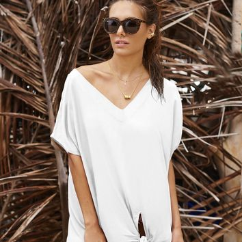 Malai Swimwear Blanc Tie The Knot Cover Up