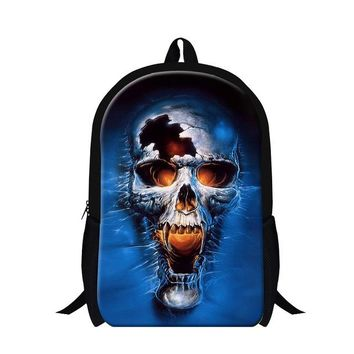 Cool Backpack school 2016 New Hot Student Style Ghost Rider 3D Print School Backpack For Teenagers Cool Skull Face Mens Casual Travel Bags School Bag AT_52_3