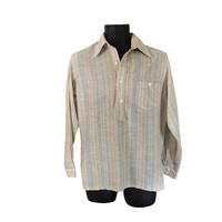 Men Tunic Greg Brady Blue Tunic Men 70s Shirt Retro Shirt 1970s Shirt Men Striped Shirt Blue Shirt Collared Shirt 70s Clothing 70s Clothes
