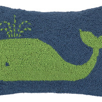 Whale 12x18 Wool Pillow, Green, Decorative Pillows