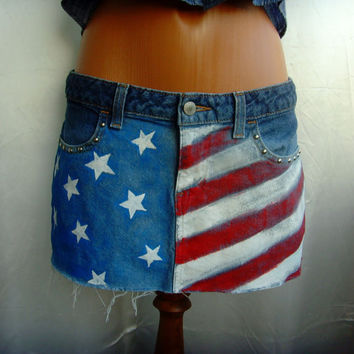 Mini Jeans Skirt Hand Painted Tattered Bleached Studded Handmade Short with USA American Flag OOAK clothing Size S By Cvetinka