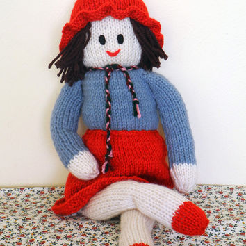 Dolls Handmade, Handmade knitted Doll, Girl Doll with Brown Hair, Handmade Gifts, Rag Dolls, Gift for Kids, Handmade Dolls, Knitted Items