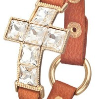Gem Stone Cross Bracelet- Camel