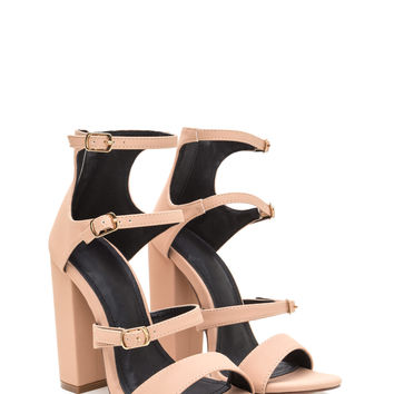 Strap In Chunky Caged Faux Nubuck Heels