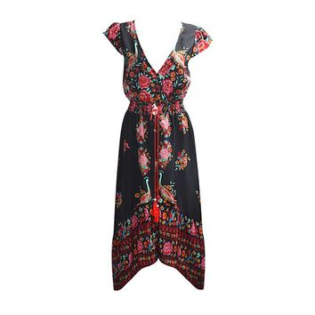 malianna Woman fashion Summer Boho Dress Ethenic Sexy Print Retro Vintage Dress Tassel Beach Dress Bohemian Hippie Dress Robe
