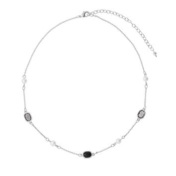 45cm long necklace with 10cm ext in rhodium plating with cream pearls and black crystal stones