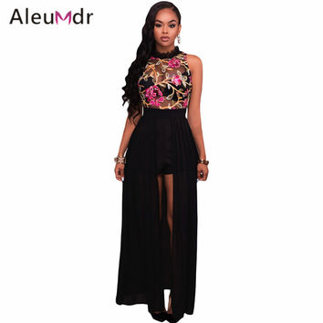 Aleumdr 2017 Overalls For Women Elegant Long White Sheer Mesh Embroidery Chiffon Bodycon Romper Jumpsuit LC64265 Mameluco Mujer