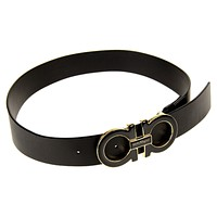 Salvatore Ferragamo Men's Double-Gancini-Buckle Belt Black Size 38 in. New