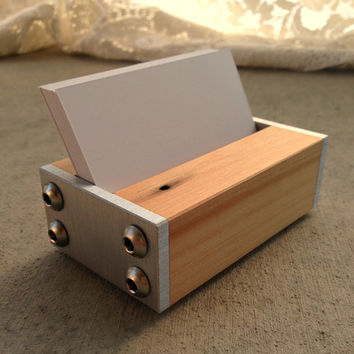 Modern Business Card Holder - Modern Office Supplies - in Metal and Reclaimed Wood