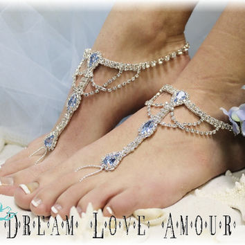 Barefoot sandals- beach wedding rhinestone SOMETHING BLUE | bridal foot jewelry-rhinestone barefoot sandal-wedding shoes-footless sandles-s4
