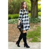 Simple And Sure Black And White Plaid Shirt Dress