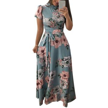 Autumn Women Floral Printed Short Sleeve Maxi Long Dress Summer Plus Size Femme Dress Boho Style Party Vintage Dresses GV876