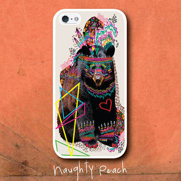 iPhone 5 Case, iPhone 5S Case - Hippie Bear / iPhone 5S Case, iPhone 5S Cover, Cover for iPhone 5S, Case for iPhone 5S