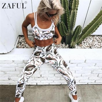 ZAFUL Women Sports Print Clothing Sets Tops Pants Yoga Set Mesh Patchwork Exercise Gym Fitness Sport Wear Suit Workout Clothing