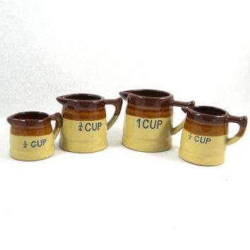 Vintage Measuring Cup Set. Brown Band Pottery Pitchers