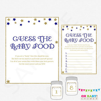 Twinkle Twinkle Baby Shower Games Boy, Guess the Baby Food, Printable Baby Shower Food Game, Navy Gold, Download, Baby Food Guess Game, STNG