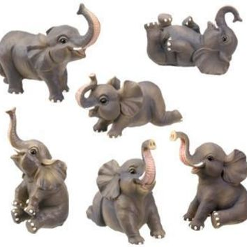 Miniature Elephants Having Fun Animal Figurines Set of Six 3H