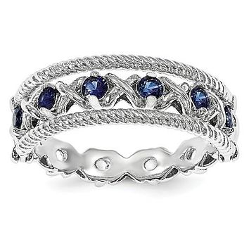 Sterling Silver Created Blue & White Sapphire Flip Ring