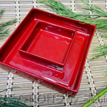 Ikebana, Square Ceramic Container Vase Bowl, Red, Japanese Art of Flower Arrangements, Pottery, Vintage FREE SHIPPING 115