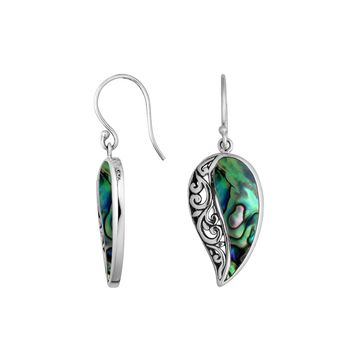 AE-6200-AB Sterling Silver Leaf Shape Earring With Abalone Shell
