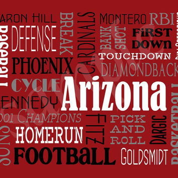 50% off - Arizona Sports Word Art - Man Cave Wall Decor - Unique Gift Ideas - Sports Fan - Baseball Fan - Digital Print