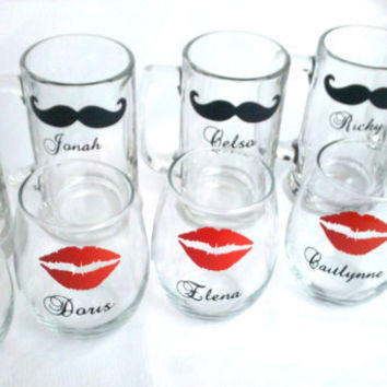 Lips and mustache glasses, set of 9 beer mugs or wine glasses, Mr. and Mrs. wedding party glasses, Bridesmaid gift red and black