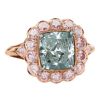 Fancy Intense Blueish Green Cushion Cut Diamond GIA Cert Ring | 1stdibs.com