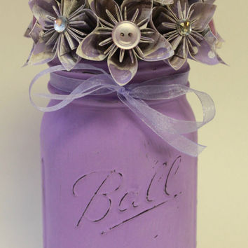 Purple Iris Jar / Mason Jar Decor / Painted Mason Jar / Flower Mason Jar / Spring Mason Jar / Paper Flowers / Wedding Mason Jar
