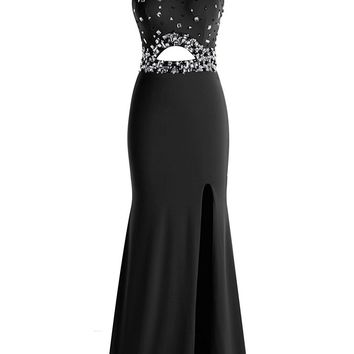 Ubridal Women's Long Beads Prom Dress Halter Front Split Evening Dress