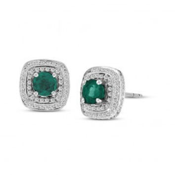 1CT Round Cut Green Emerald Stud Earrings with Double Halo Diamonds