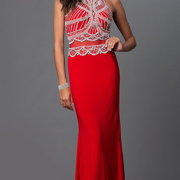 Mock Two Piece Jewel Embellished Floor Length Dress by Elizabeth K