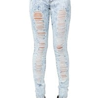 Engineered Destroy Acid Wash Skinny Jean