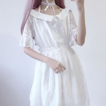 White Dress Women Lace Bow High Waist Short Sleeve Summer Dress New Sweet Lolita Dress Cute Stuff Female Dresses