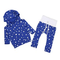 New Fashion 2017 2PCS Infant Kids Baby Boy Girl Sweatsuit Sweatshirt Star Print Long Sleeve Pants Leggings Clothes Casual Set