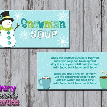 SNOWMAN SOUP Treat Bag TOPPERS - Snowman Treat Bag Toppers - Christmas Treat Bag Toppers - Diy Christmas Treats - Instant Download school