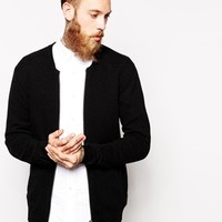 ASOS Lambswool Rich Baseball Cardigan - Black