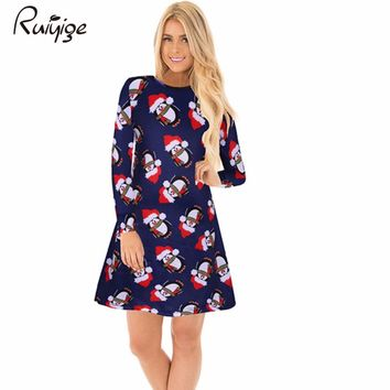 Ruiyige 2017 Winter Women Christmas Dress Casual Santa Cartoon Print Long Sleeve Round Neck Tunic Stretch Mini Robes Xmas Party