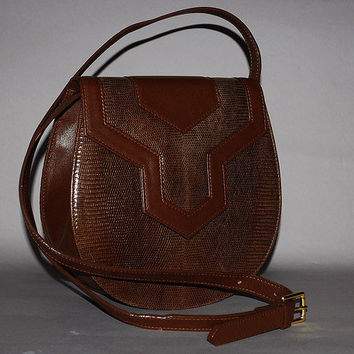 Authentic YSL Yves Saint Laurent Y Brown Lizard Leather 2 Way Clutch