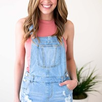 Living Easy Denim Cut Off Overalls