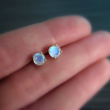 Blue Rainbow Moonstone Stud Earrings - 5mm Prong Set Sterling Silver Earrings - Blue Flash Fire AAA Grade - June Birthstone